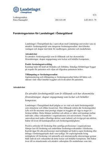 Forskningsvision för Landstinget i Östergötland En attraktiv ...
