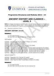 ANCIENT HISTORY AND CLASSICS – LEVEL 3