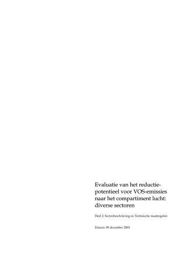 potentieel voor VOS-emissies naar het compartiment lucht - LNE.be