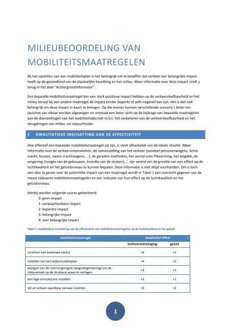 MILIEUBEOORDELING VAN MOBILITEITSMAATREGELEN - Lne.be