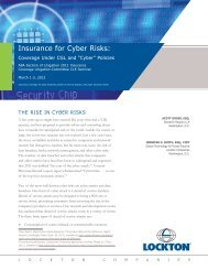Insurance for Cyber Risks: Coverage Under CGL and - Lockton
