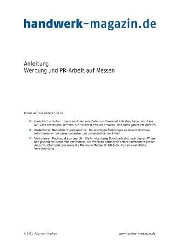 Merkblatt Messen: Werbung und PR-Arbeit - Handwerk-Magazin