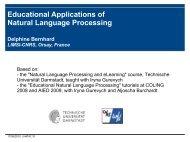 Educational Applications of Natural Language Processing - Loria
