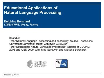Educational Applications of Natural Language Processing - Loria