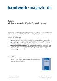Personalplanung, Mindestdatengerüst - Handwerk Magazin