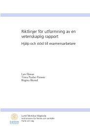 Riktlinjer för utformning av en vetenskaplig rapport - Lunds Tekniska ...