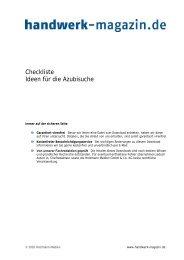 Azubisuche, Ideenkatalog - Handwerk Magazin