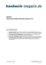 Technische Daten Renaut Kangoo Z.E. - Handwerk Magazin