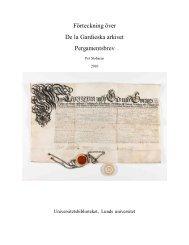 Förteckning över De la Gardieska arkivet ... - Lunds universitet