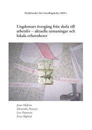 Ungdomars övergång från skola till arbetsliv ... - Lunds universitet