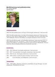 Meritförteckning med publikationslista - Lunds universitet