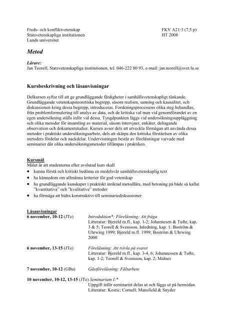 Kursbeskrivning och läsanvisningar - Lunds universitet