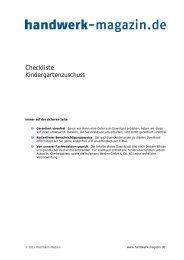 Checkliste Kindergartenzuschuss - Handwerk Magazin