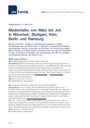 Medientalks von März bis Juli in München, Stuttgart, Köln, Berlin und ...