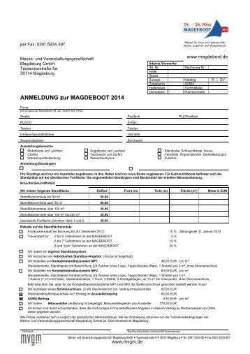 Anmeldung für Aussteller mit AGB - Magdeboot