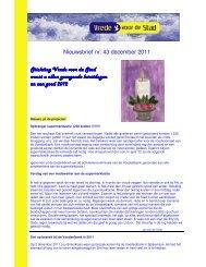Nieuwsbrief nr. 43 december 2011 Stichting Vrede voor de Stad ...