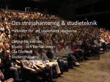 Bildspel studiestress och studieteknik - Malmö högskola