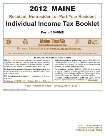 2012 MAINE Individual Income Tax Booklet - Maine.gov