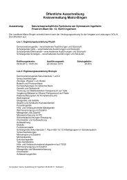 Ausschreibung naturwissenschaftliche Fachräume Gy Ingelheim