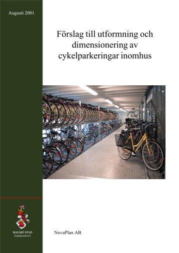 Förslag till utformning och dimensionering av cykelparkering inomhus