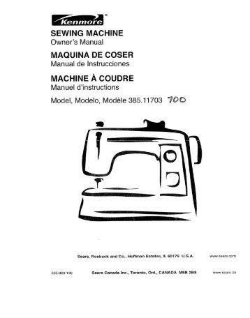 SEWING MACHINE MAQUINA DE COSER Manual ... - ManageMyLife