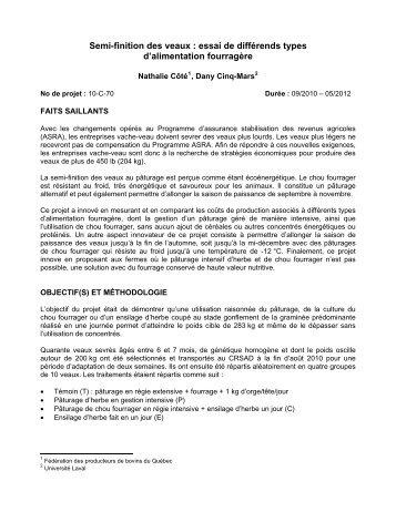 Semi-finition des veaux : essai de différends types d ... - MAPAQ