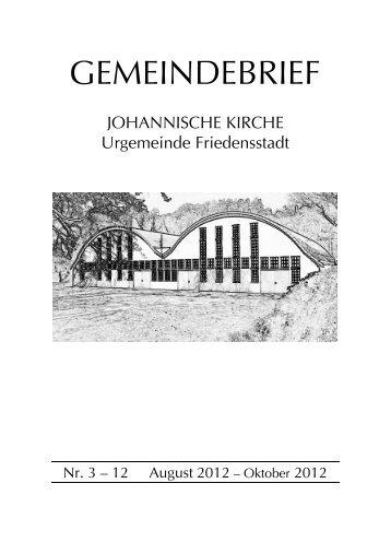 Geφffnet: Jeden Donnerstag von 14.00 - Johannische Kirche