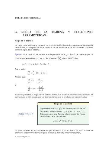 Regla de la Cadena y Ecuaciones Parametricas