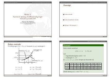 Modul 3: Numerisk løsning af differentialligninger - Matematik og ...