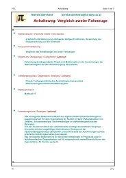 Anhalteweg - MATHEMATIK und TECHNIK mit MATHCAD