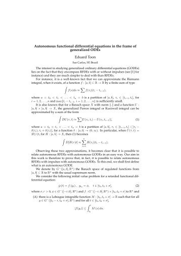 Autonomous functional differential equations in the frame of ...