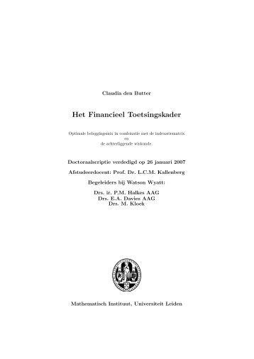 Het Financieel Toetsingskader - Mathematisch Instituut Leiden ...
