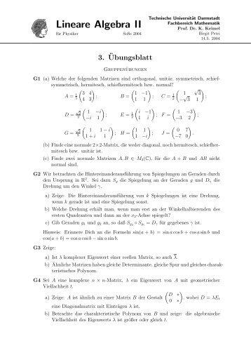 A Lineare Algebra II - Fachbereich Mathematik - Technische ...