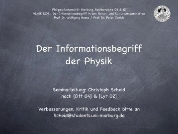 Der Informationsbegriff der Physik - uni-marburg