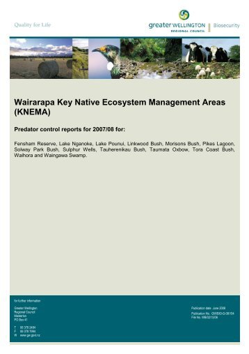 Wairarapa Key Native Ecosystem Management Areas - Greater ...