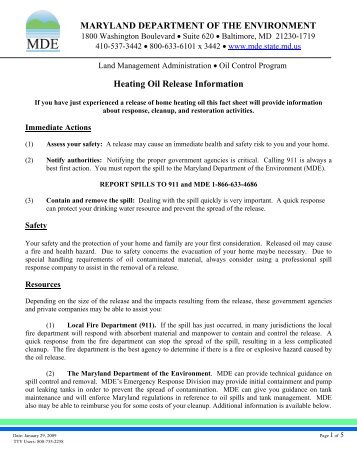 Heating Oil Release - Maryland Department of the Environment
