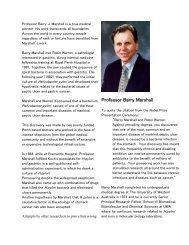 Professor Barry Marshall - Faculty of Medicine, Nursing and Health ...