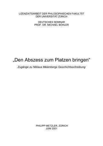 """""""Den Abszess zum Platzen bringen"""" - Niklaus Meienberg"""