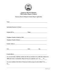 TBR Student Regent Application - University of Memphis