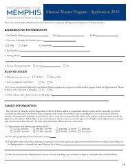 Musical Teatre Program - Application 2012 - University of Memphis