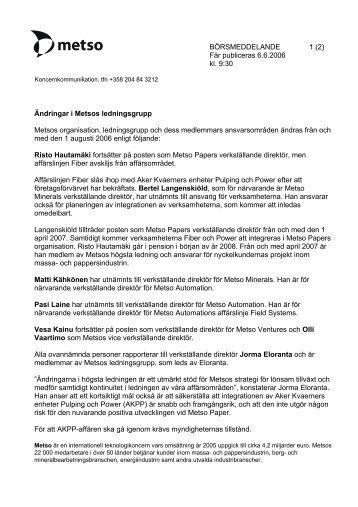 BÖRSMEDDELANDE 1 (2) Får publiceras 6.6.2006 kl. 9:30 ... - Metso