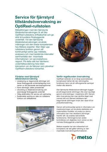 Fjärrstyrd tillståndsövervakning av OptiReel-rullstolen, flyer - Metso