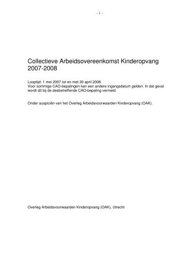 Collectieve Arbeidsovereenkomst Kinderopvang 2007-2008