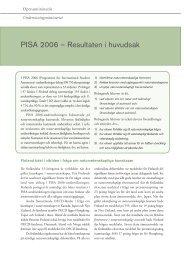 PISA 2006 – Resultaten i huvudsak