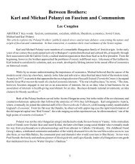 Between Brothers: Karl and Michael Polanyi on Fascism - Missouri ...