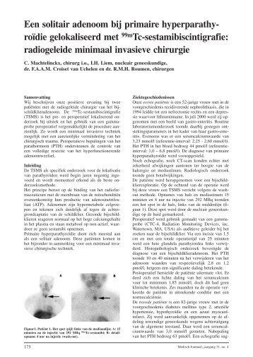 Een solitair adenoom bij primaire hyperparathyroïdie gelokaliseerd ...