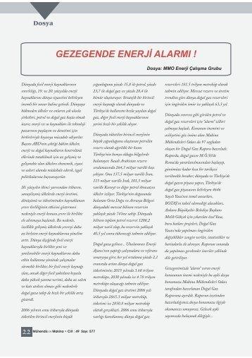 gezegende enerji alarmı - Makina Mühendisleri Odası