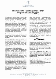 Information fra Fysioterapeuterne efter en operation i lænderyggen