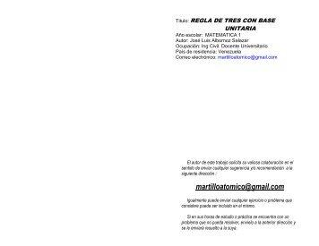 regla de tres unitaria - Monografias.com