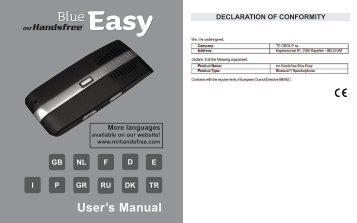 User's Manual - Mr Handsfree